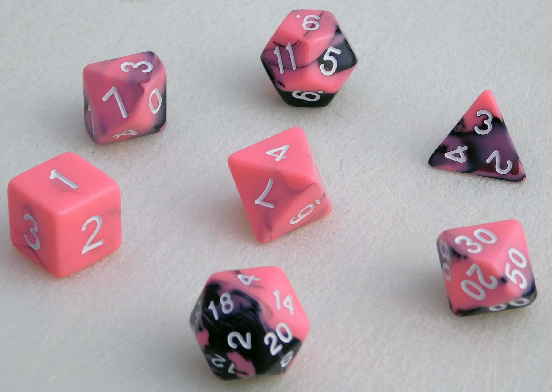 Fancy Marbled Dice Set - Pink/Black