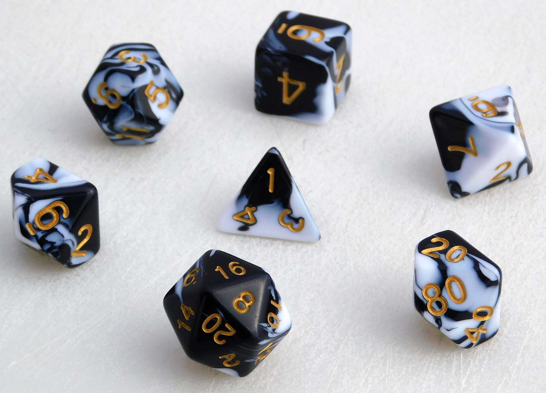 Creamsicle Marbled Dice Set - Black/White