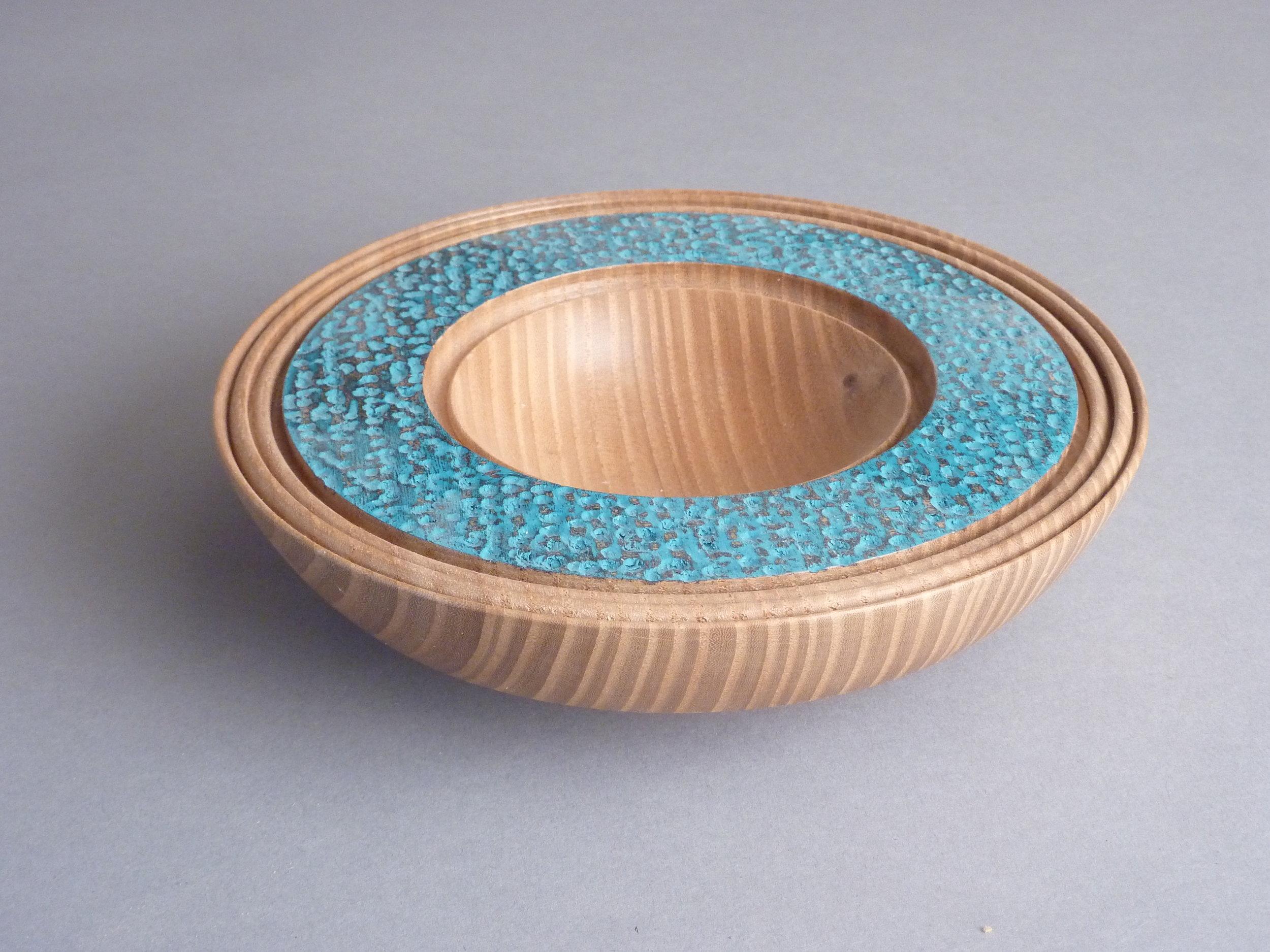 """Blue Undulation  1-3/4""""H x 7-1/4""""D; Siberian Elm $120"""