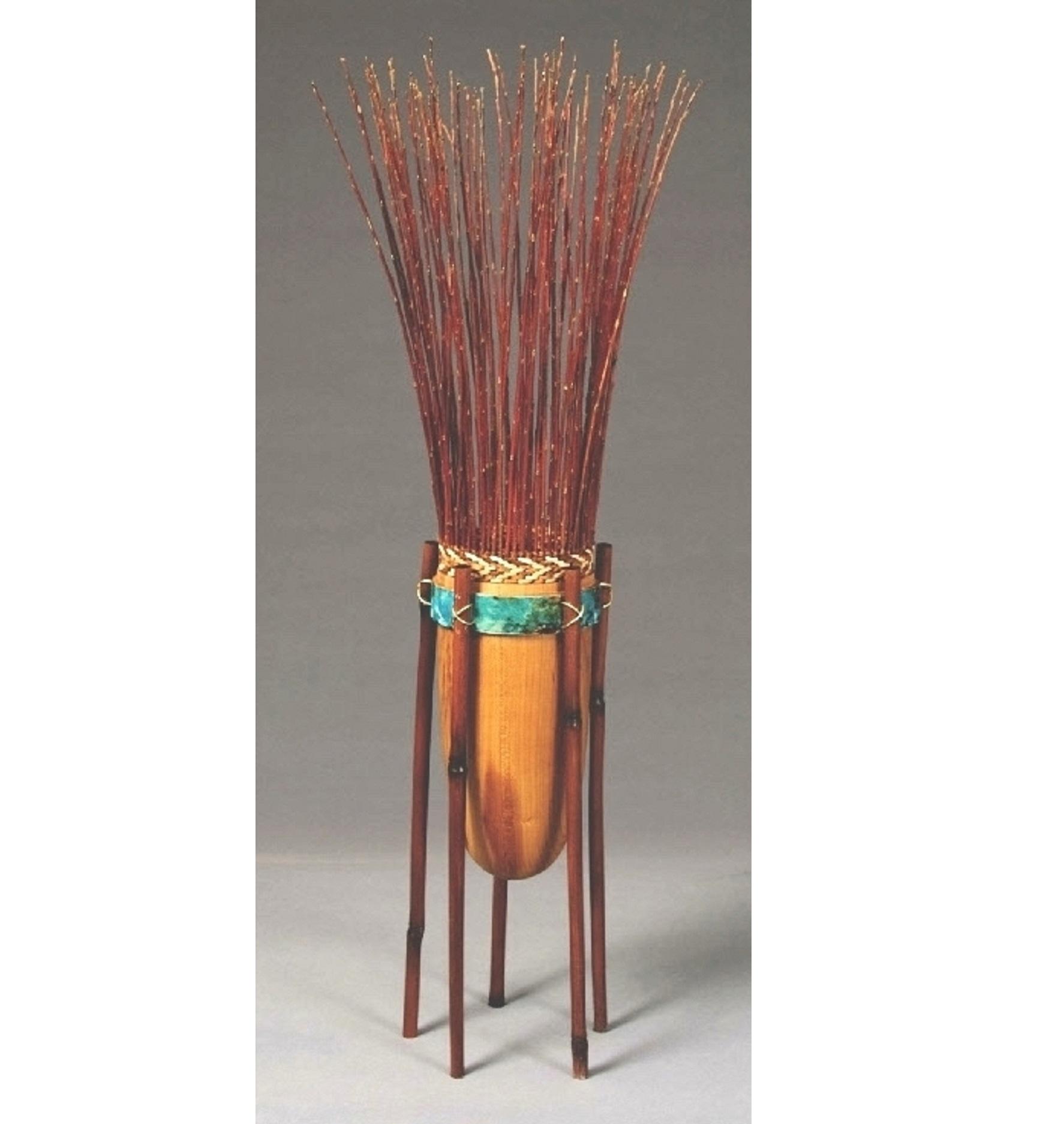 """Robin's Delight  26""""H x 6""""D Cherry, Bamboo, Willow, Cedar Bark, Brass $475"""