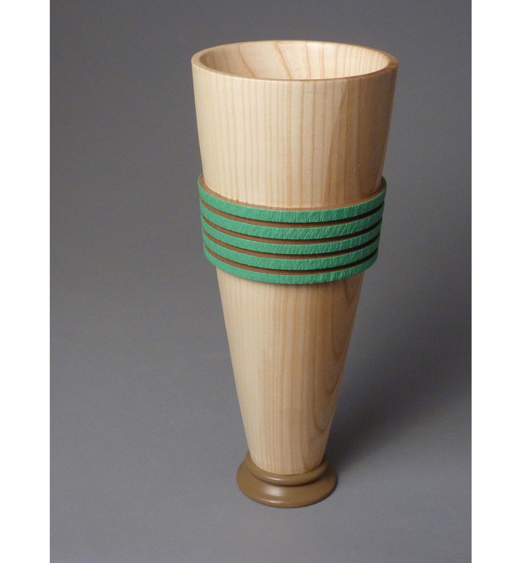 "Banded Vase  6""D x 15""H; Ash, Paint, Ink $320"