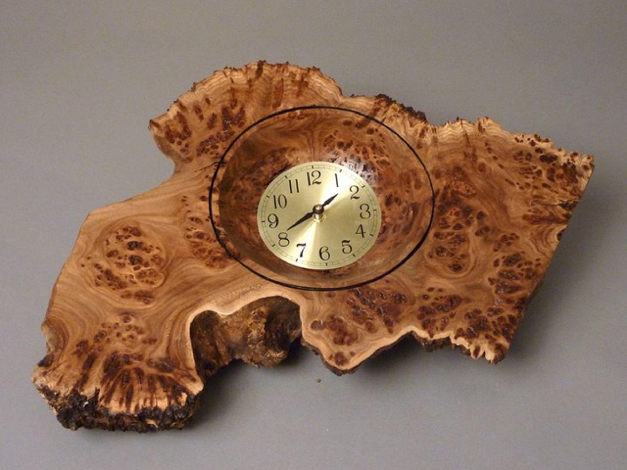 """Wall Clock  20-1/2""""W X 14-1/2""""H X 2 1/2""""D; Siberian Elm Burl $220"""