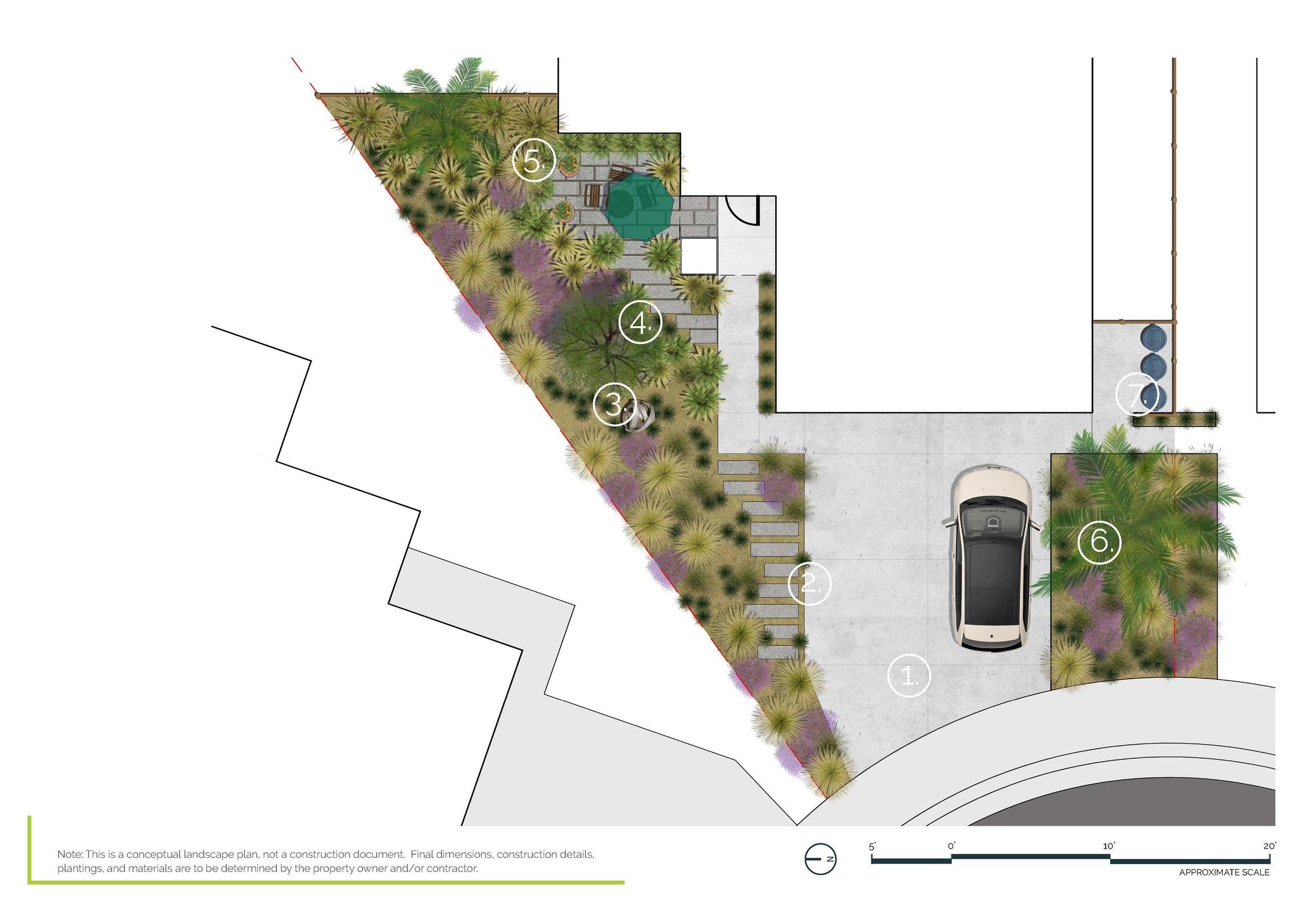Water Wise Front Yard - Half Full Property PlanSacramento, CA