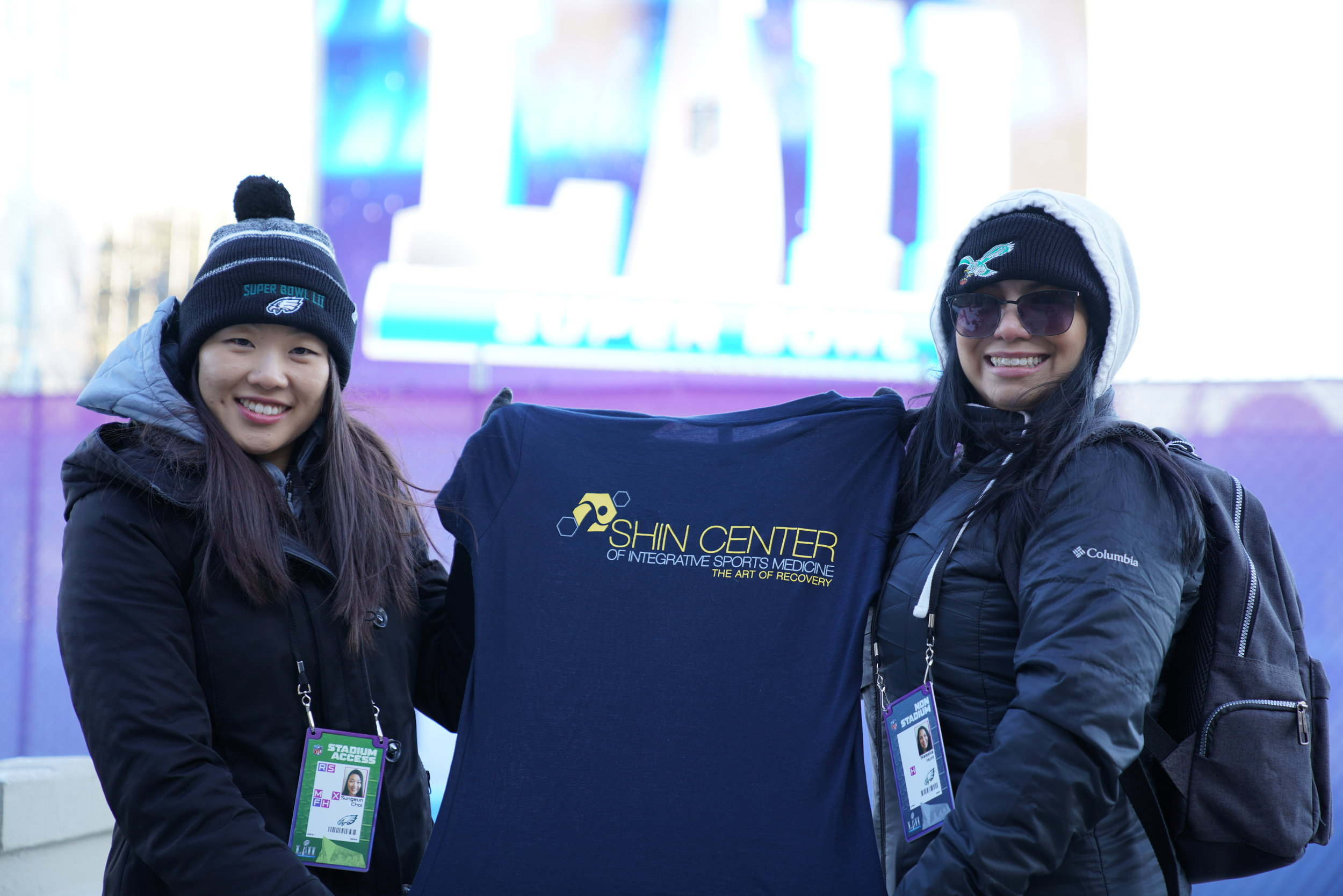 Outside the Stadium with Shin Center T-Shirt