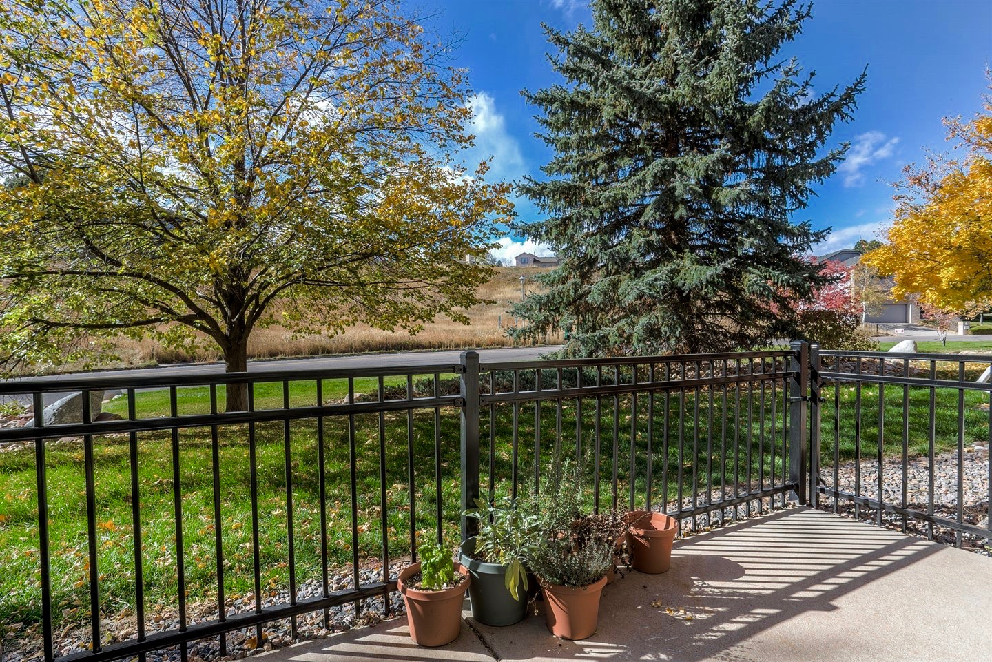 Amberwick Townhome patio area and outlook. Located in Golden, Colorado