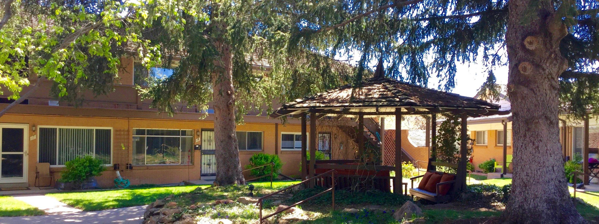 Interior Courtyard area and Gazebo at Applewood Executive Condos near Golden, Colorado