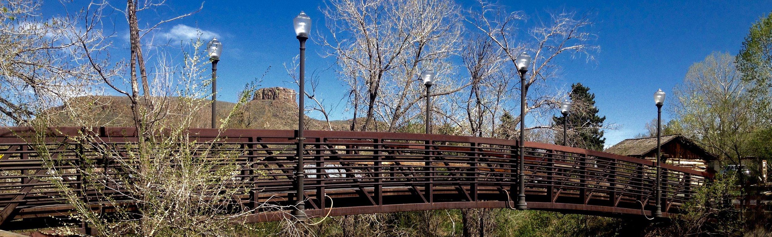 Clear Creek Park Foot Bridge near Downtown Golden, Colorado