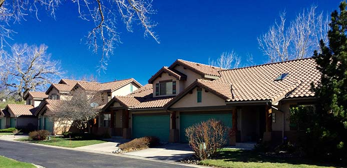 Spanish style architecture at Cottonwood Villas in Golden, Colorado