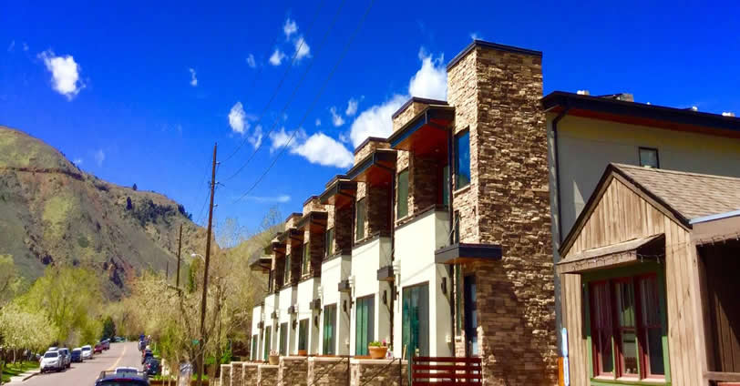Great views of the foothills from each Eighth Street Residences townhomes in Golden, Colorado