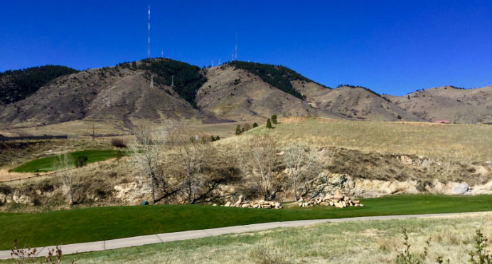 Most Fossil Court Village properties border the 15th fairway of the Fossil Trace golf course in Golden, Colorado