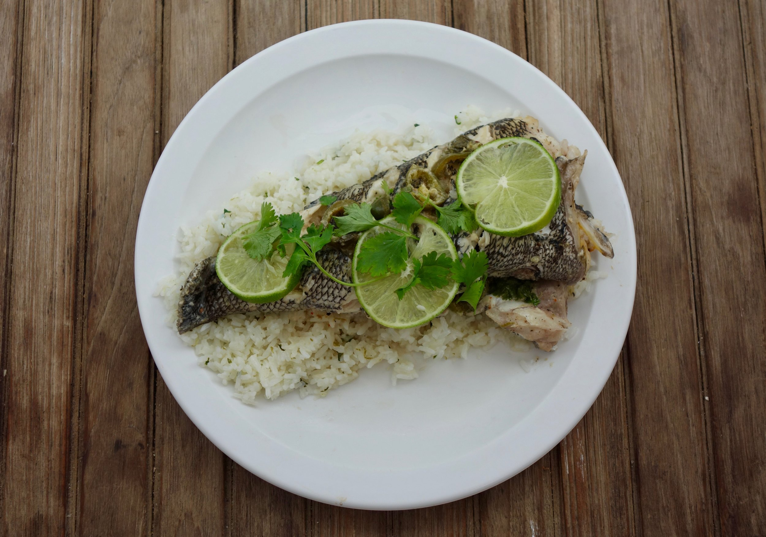 Baked Snapper in the Exumas with