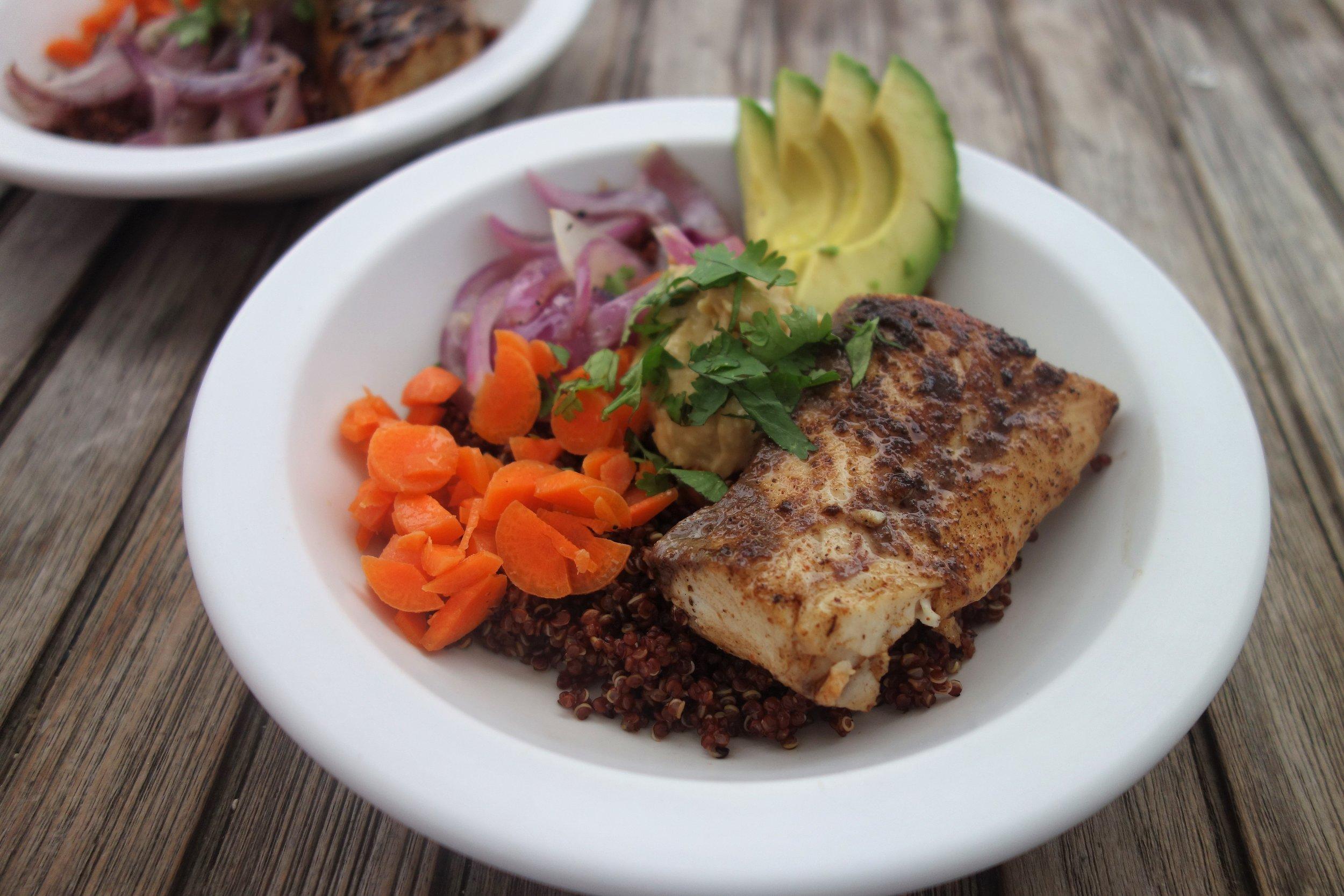 Healthy quinoa fish bowls clean eating vegetarian