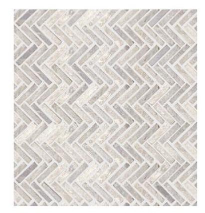 Grey tight-knit herringbone tile.