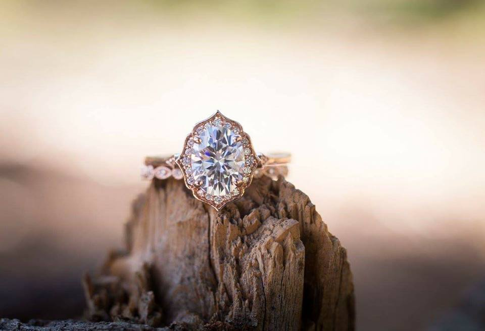 My moissanite wedding set; photo taken by our awesome wedding photographer, Jayna Rosentreter.