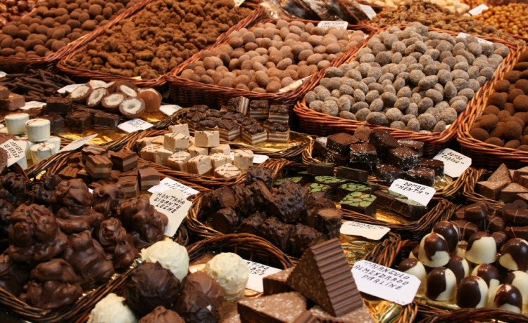 Italian sweets on display at the local markets