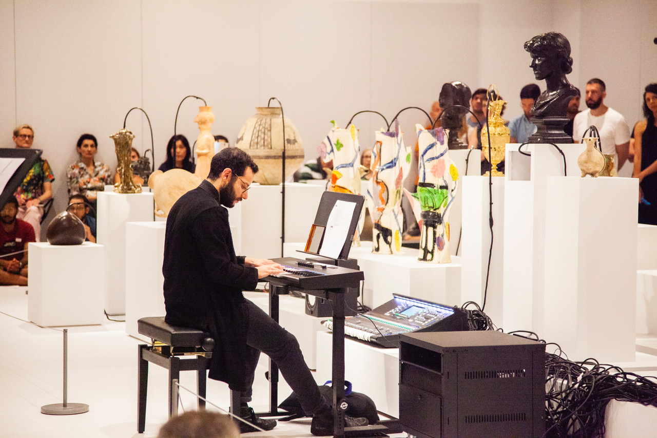 Firas playing Oliver Beer's  Vessel  at the Met Breuer, 2019