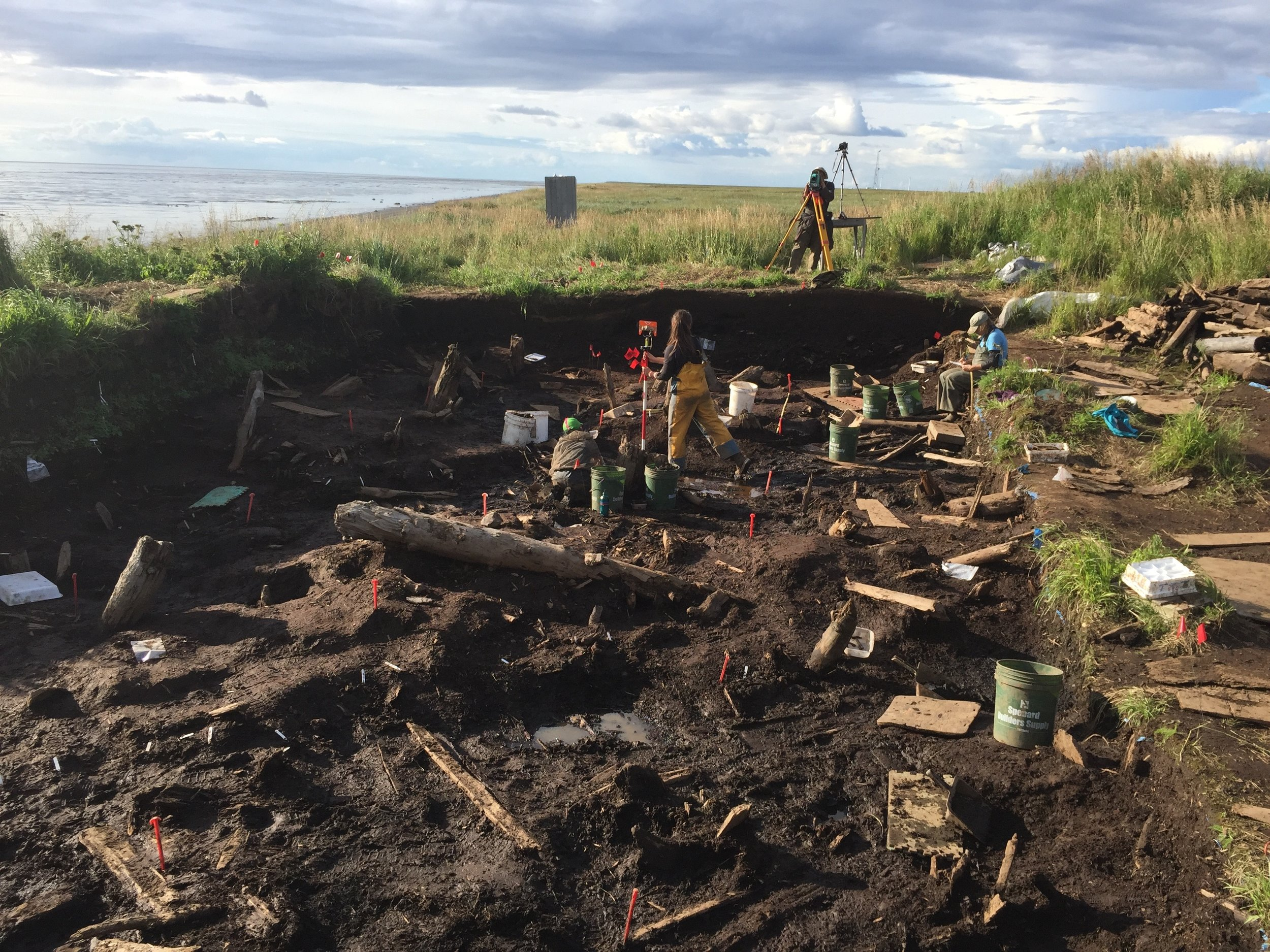 The dig site at the end of the day as items are being tracked with the survey equipment.