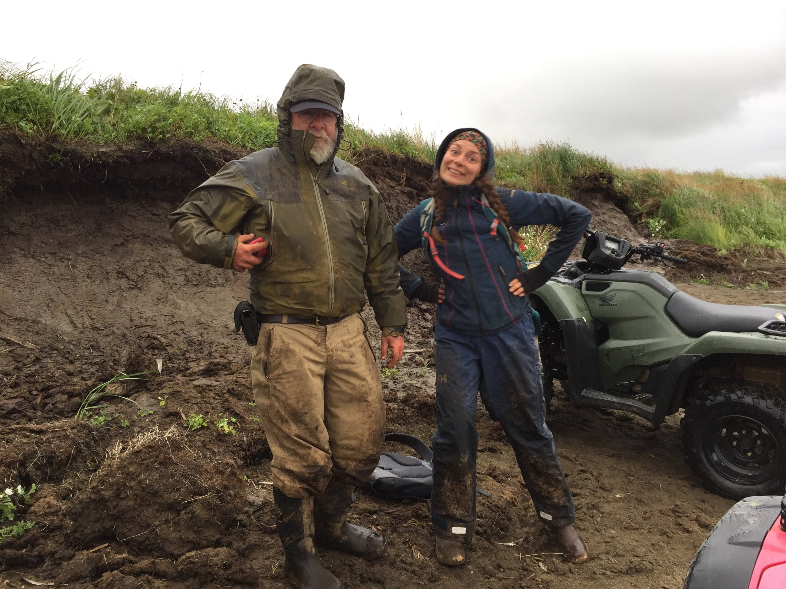 Rick Knecht and Anna Mossolova packing up to head out after a long days work in the wind, rain, mud:).