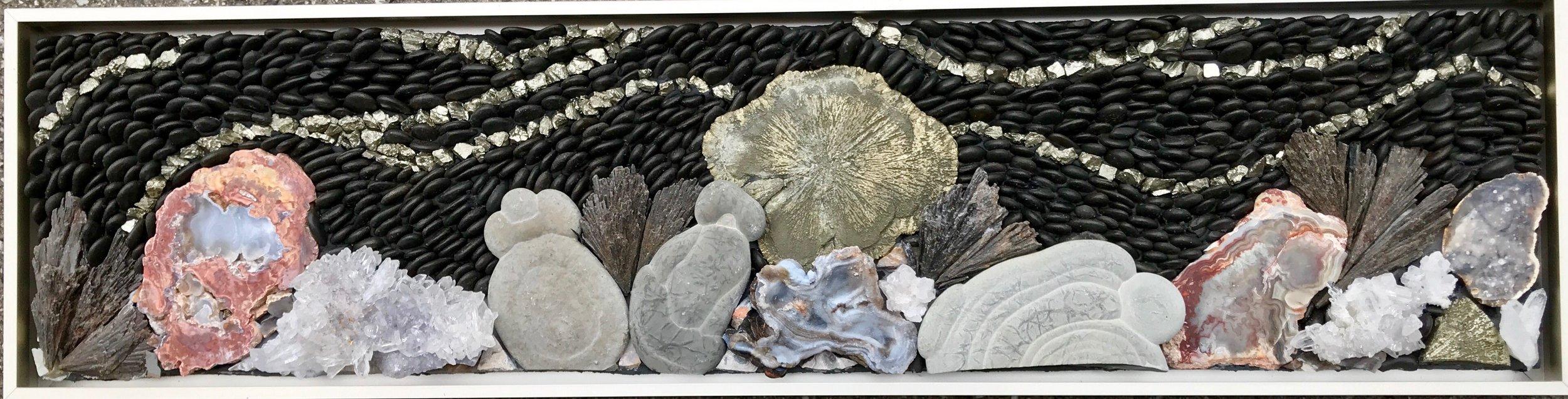 """Generosity (sold)   6 1/2"""" x 25"""" framedFairy Stones, Pebbles, Pyrit Sun, Pyrite, Black Kyanite, Chalcedony Rosette, Thunder Egg Agate"""