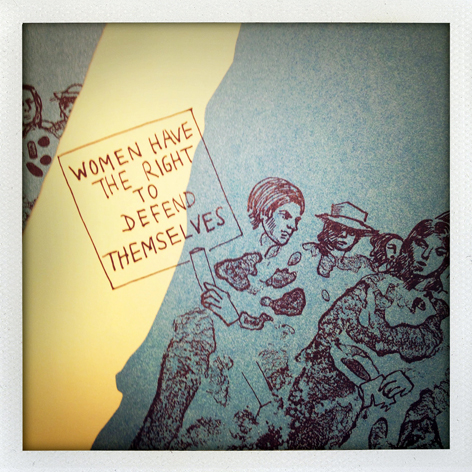 Political folio: detail of Sandra Starkey Simon's print