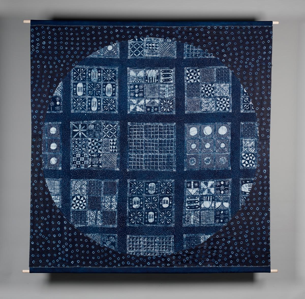 'Adire (Indigo Songs)', by Oluwole Oginni & Simone Tippett, indigo & appliqué, 2013