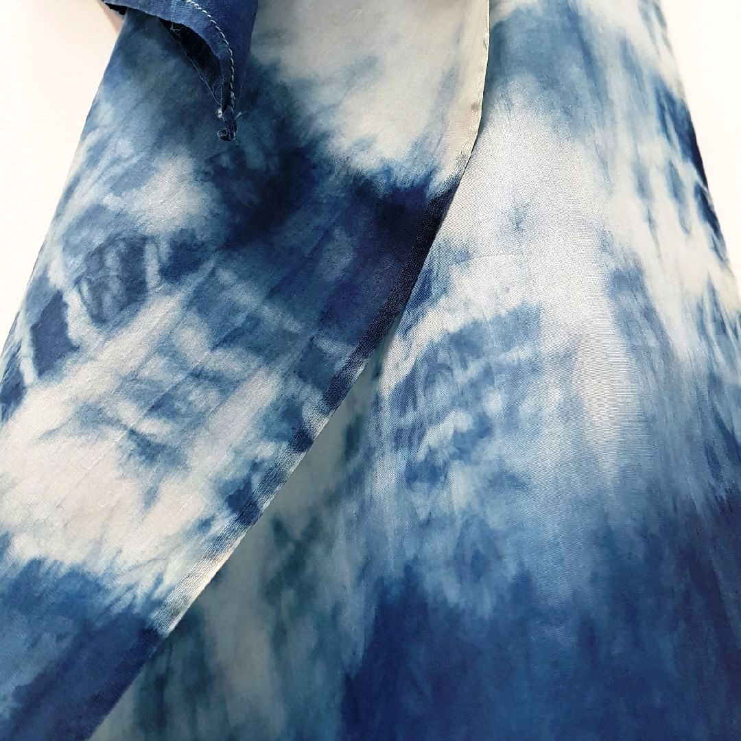 Detail of indigo scarf, dyed by Halinka Harrison