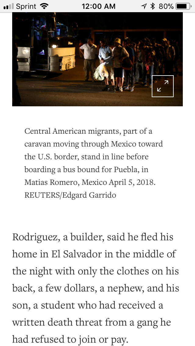 An article from Reuters on a group of migrants traveling through Mexico, which received an unexpected amount of specific Presidential attention