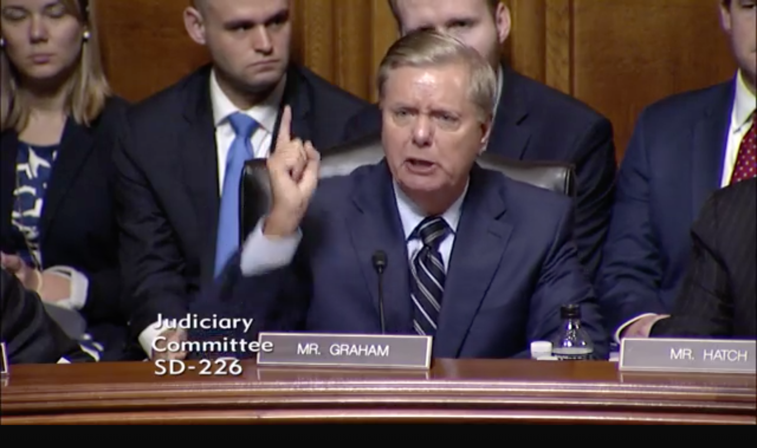 """Still frame capture from video of Senator Lindsey Graham (R-S.C.) during this week's Kavanaugh nomination hearing.  Source: """"Nomination of the Honorable Brett M. Kavanaugh to be an Associate Justice of the Supreme Court of the United States (Day 5),"""" September 27, 2018,    https://www.judiciary.senate.gov/meetings/nomination-of-the-honorable-brett-m-kavanaugh-to-be-an-associate-justice-of-the-supreme-court-of-the-united-states-day-5"""
