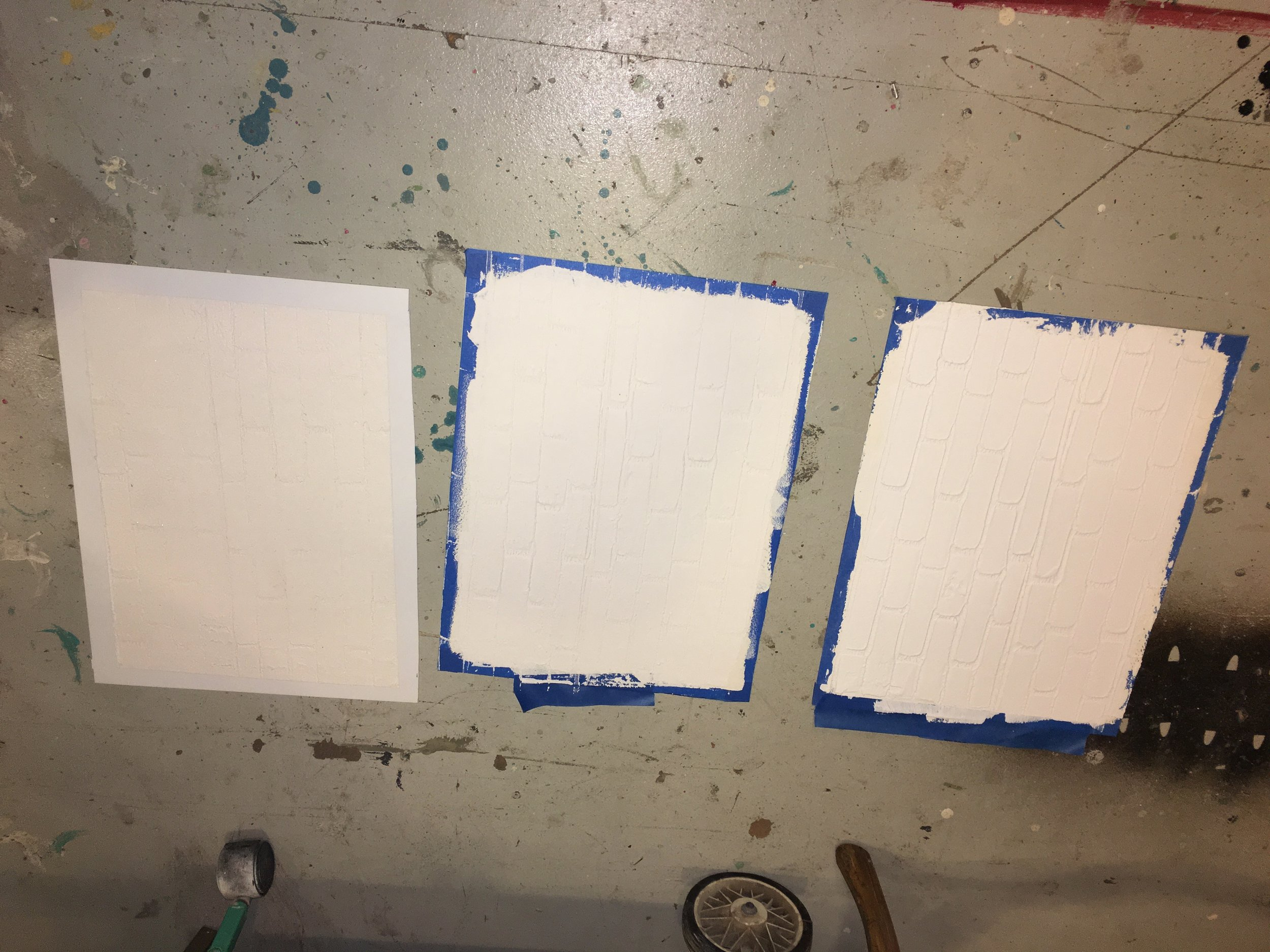 Grit Texturing Paste with the Subway Tile roller. Ivory paint and the Satin Varnish.