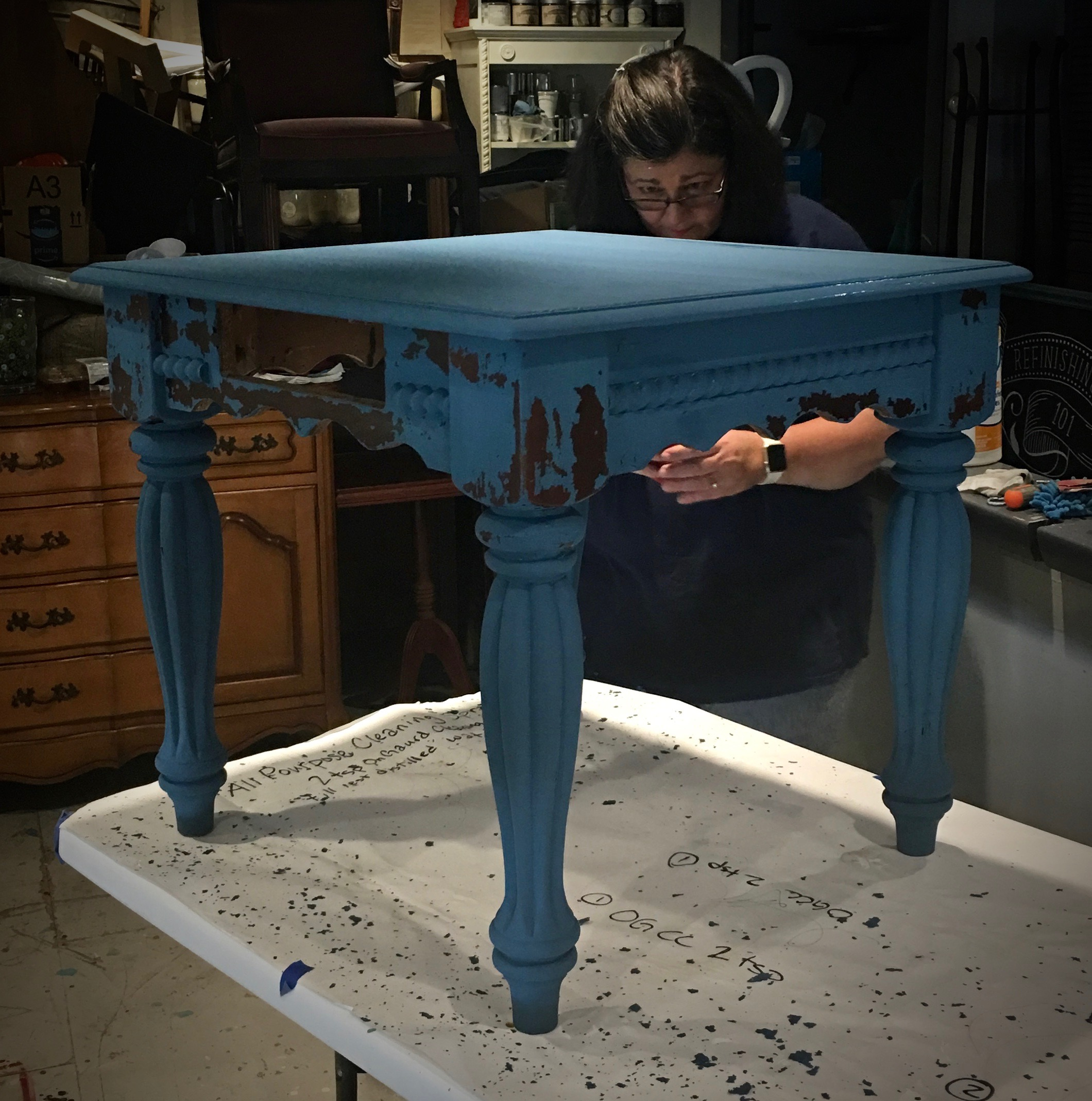 Flow Blue and super chippy goodness from Miss Mustard Seed's Milk Paint!