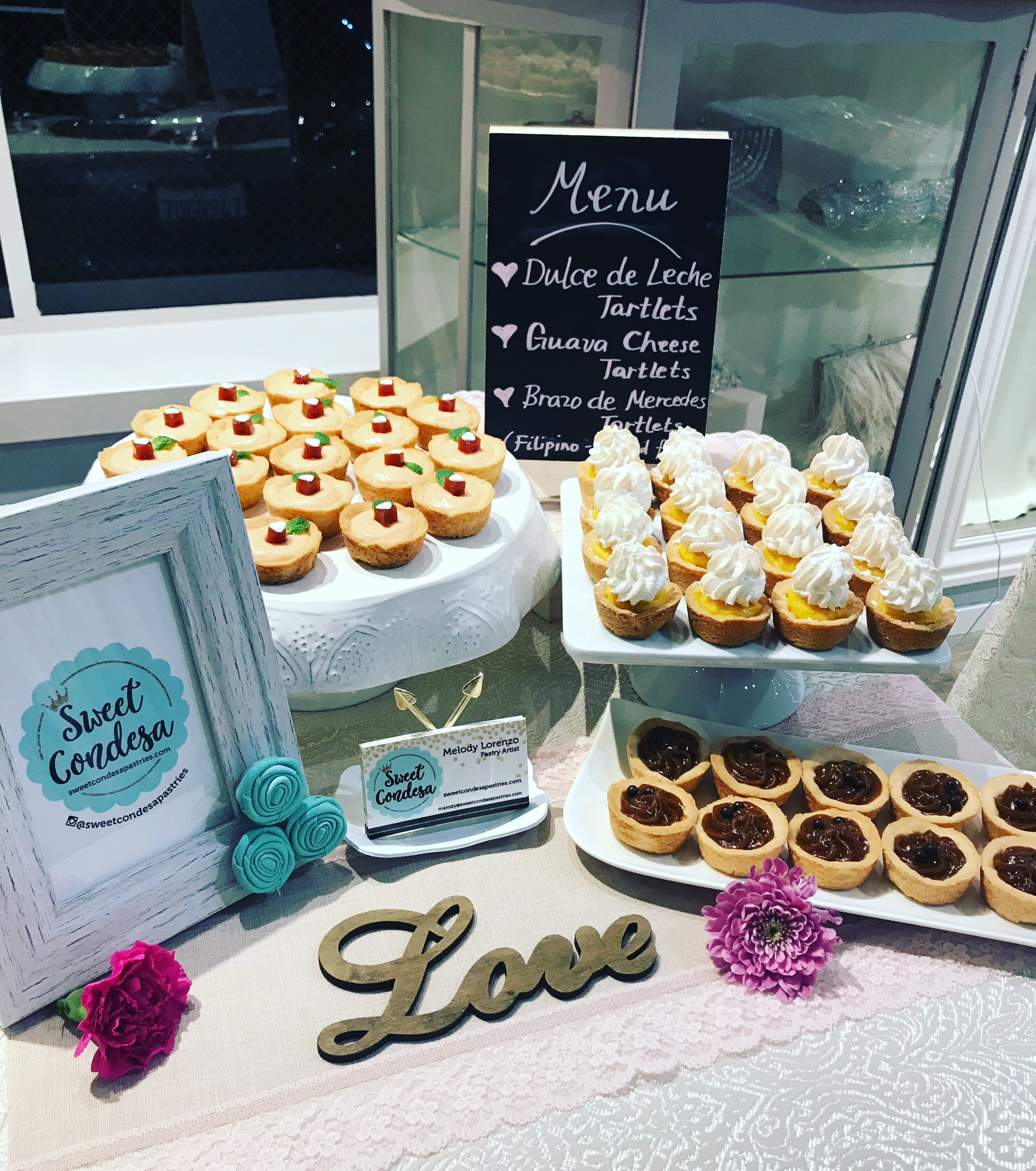 "Showcased our Filipino and Latin-inspired, handcrafted ""micro-pastries"" at the Lafayette Bridal Social. Dessert Menu: Dulce de Leche Tartlets; Brazo de Mercedes Tartlets; and Guava Cheese Tartlets"