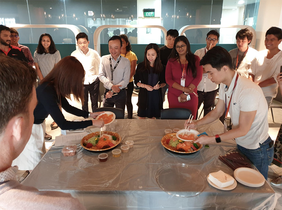 IN THE SPIRIT OF CHINESE NEW YEAR WE DID A YU SHENG WITH OUR MEMBERS. HUAT AH!