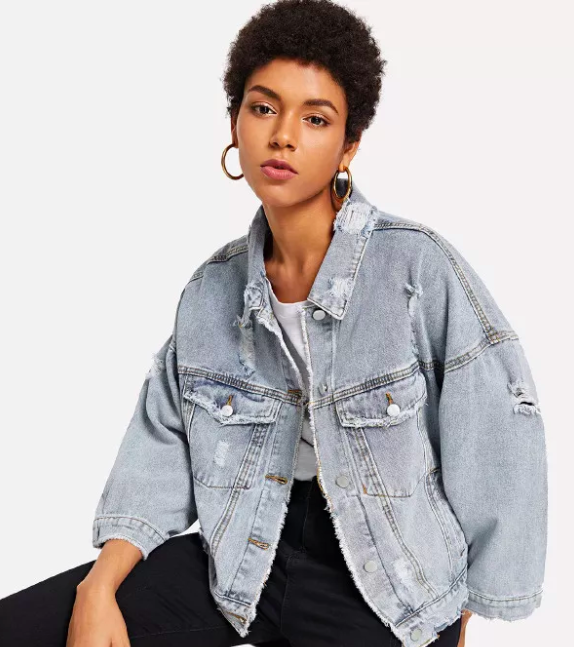 Faded Ripped Denim Jacket - $30