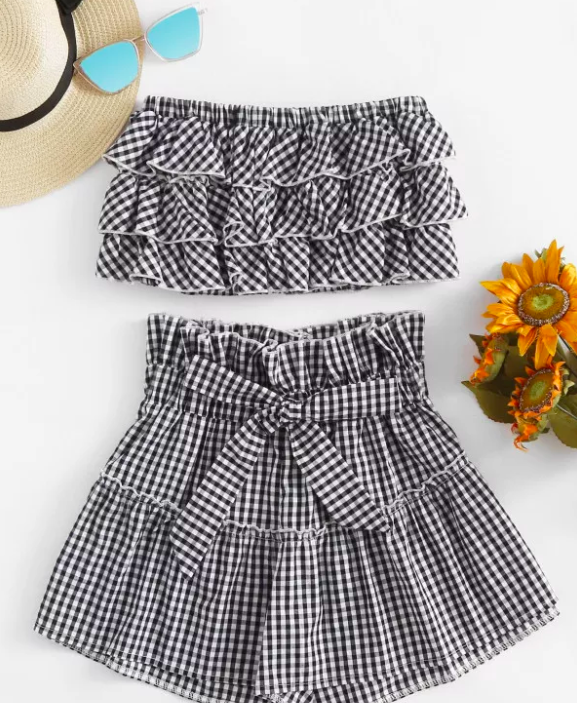 Tiered Frill Gingham Bandeau Top With Shorts - $11