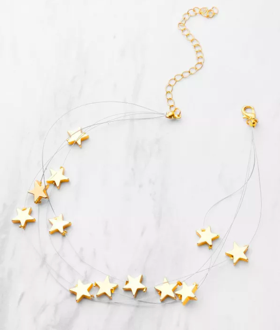 Metal Star Design Layered Necklace - $3