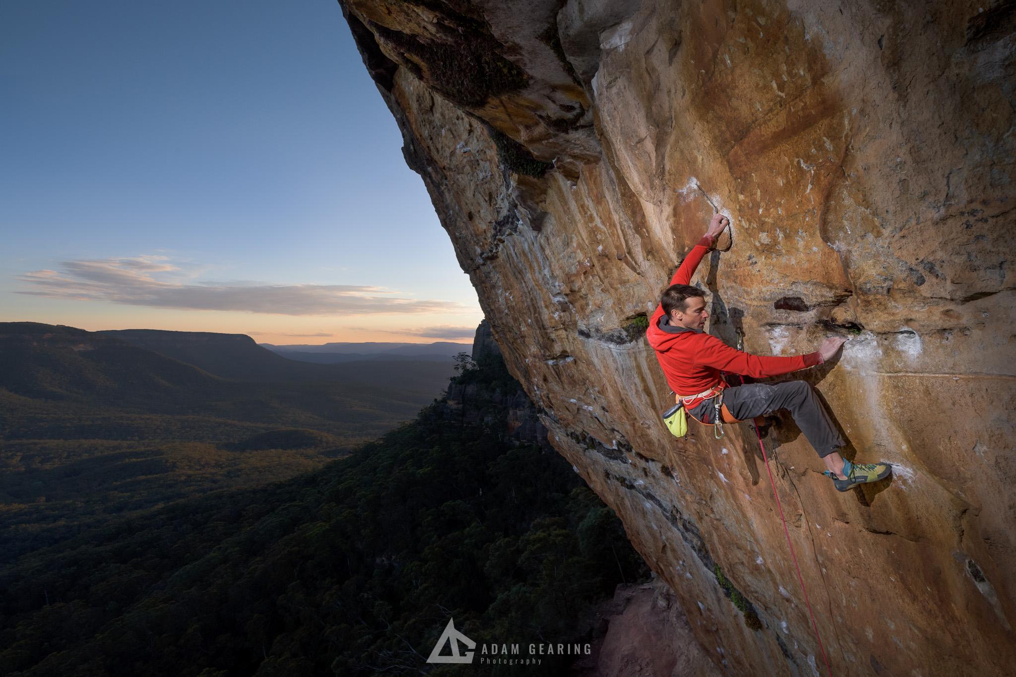 Lee Cujes on Brummel Hook (30) during sunset, Blue Mountains NSW