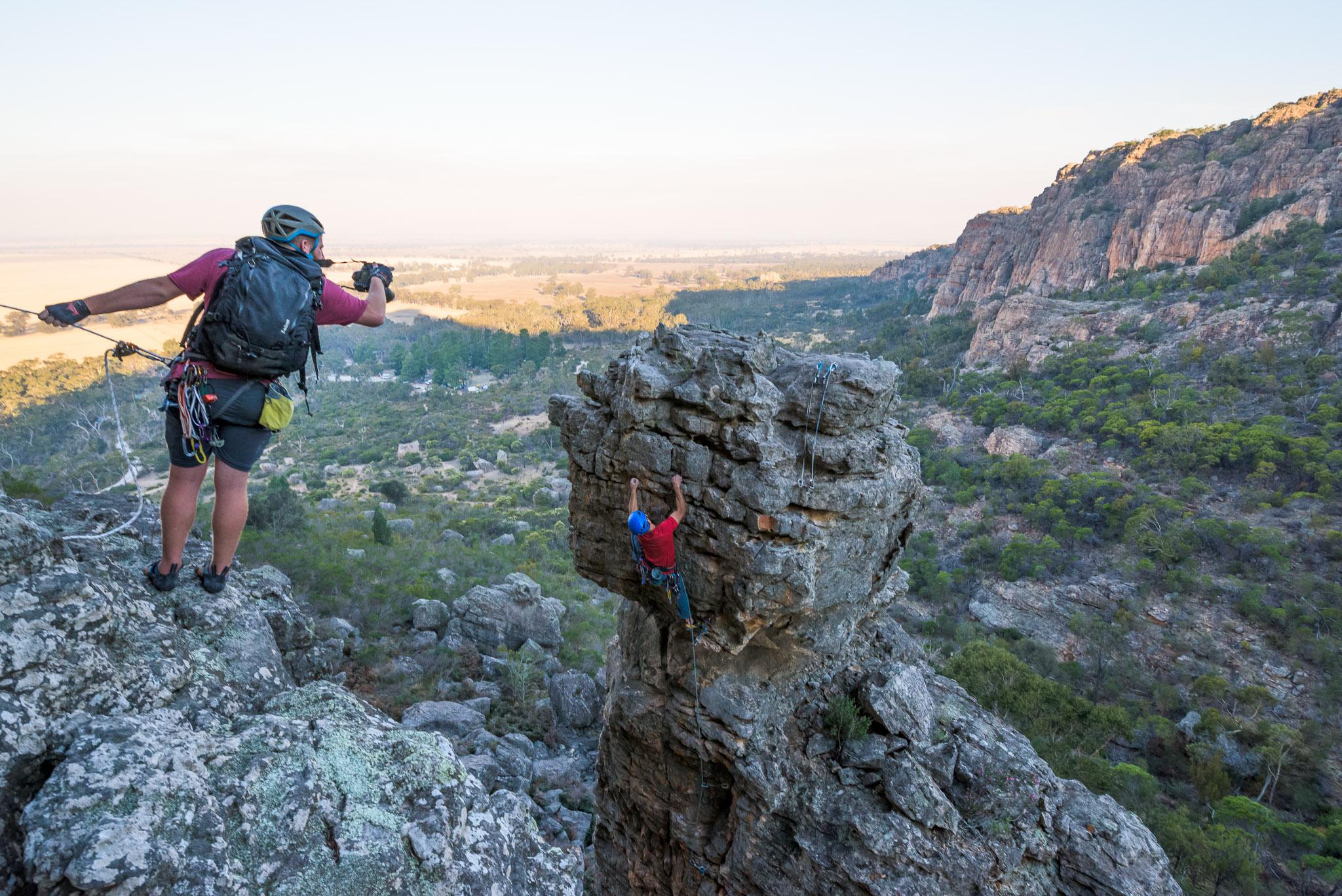 Jake Anderson photographs Rodrigo de Paiva climbing Pestilence (19), Arapiles VIC.