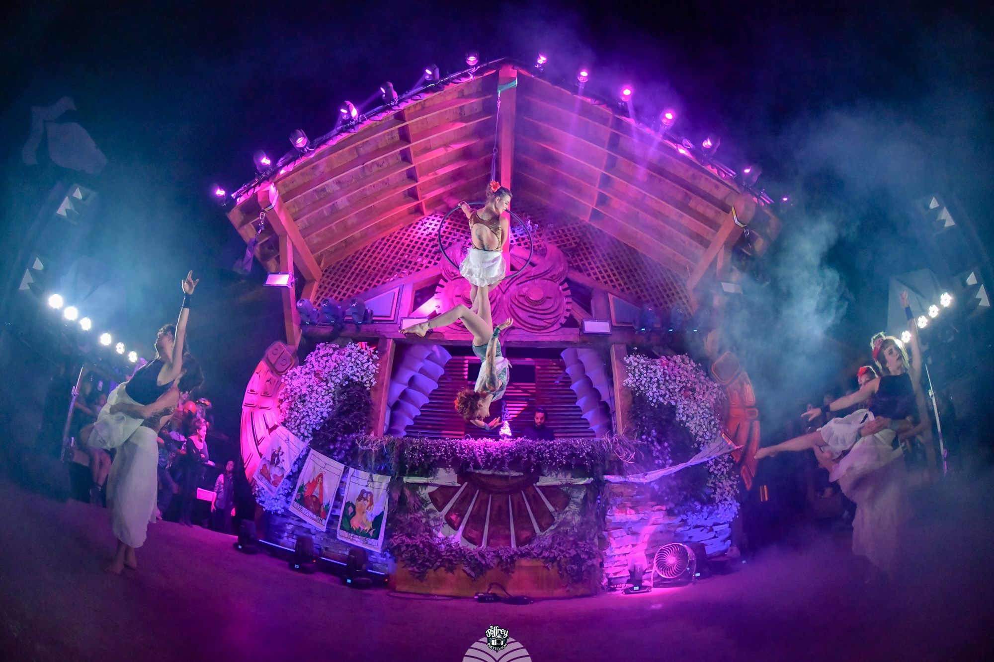 stage production - A 15-60 minute production that includes dancing, prop manipulation, aerial acrobatics, costumes, set design, and original music.