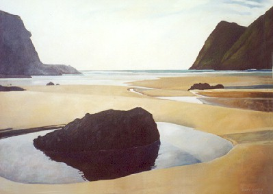 Rock 3 - Spirits Bay ,  2002, oil on canvas, 1700x 1000mm