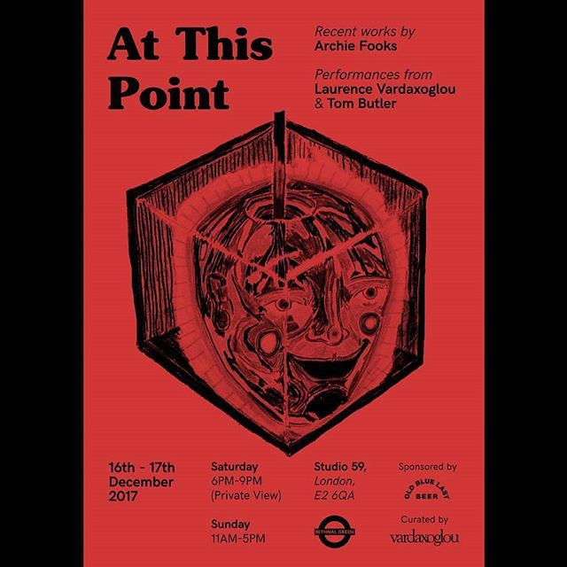 Less than a week to @vardaxoglou next show:  This Point is a solo exhibition of recent work (drawing, installation & photography) by ARCHIE FOOKS.🔴 🔴During the Private View, a monologue by playwright LAURENCE VARDAXOGLOU will be performed, as well as a reading by poet TOM BUTLER.🔴 ◻️It's sponsored by @oldbluelastbeer & held at @studio59london. ◻️ PLEASE DM US TO RSVP [POSTER BY @calum.reilly]  #art #contemporaryart #drawing #london #artexhibition #exhibition #vardaxoglou #sculpture #installation #photography #love #galleryspace  #bethnalgreen #eastlondonart #operningnight