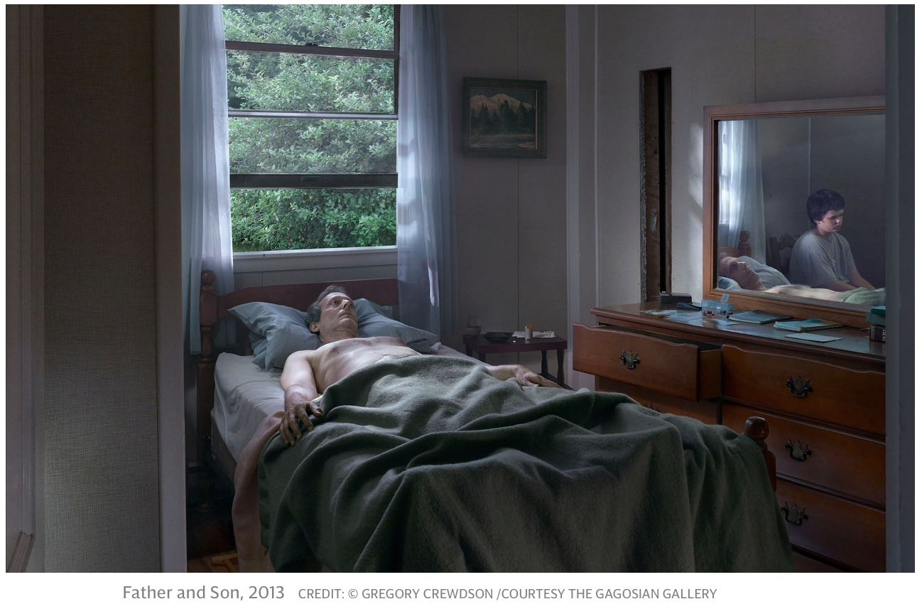 The half empty glass of water on the bedside table...an intriguing element of many of Crewdson's images. This, from    Cathedral of the Pines