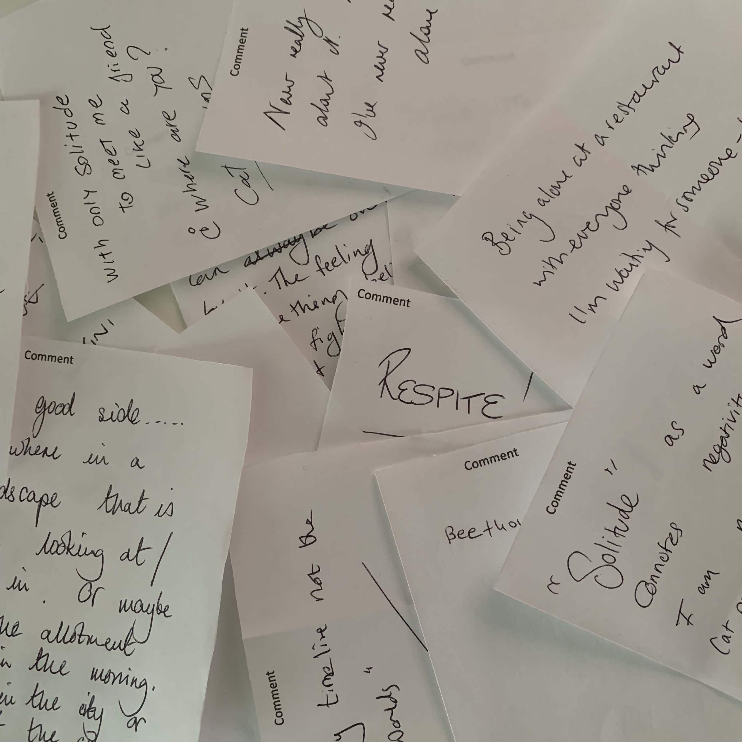 Comment cards collected during the exhibition