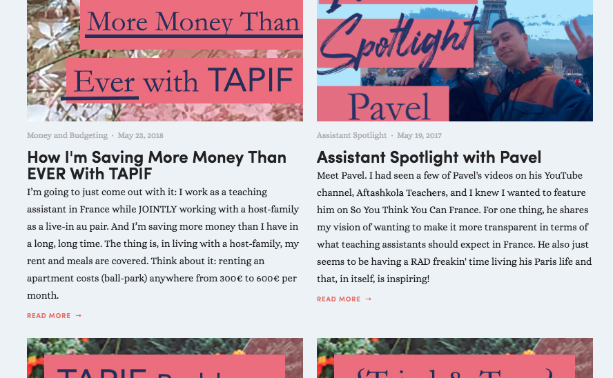 After: More of a cohesive blog layout after reworking on Photoshop blog header photos.