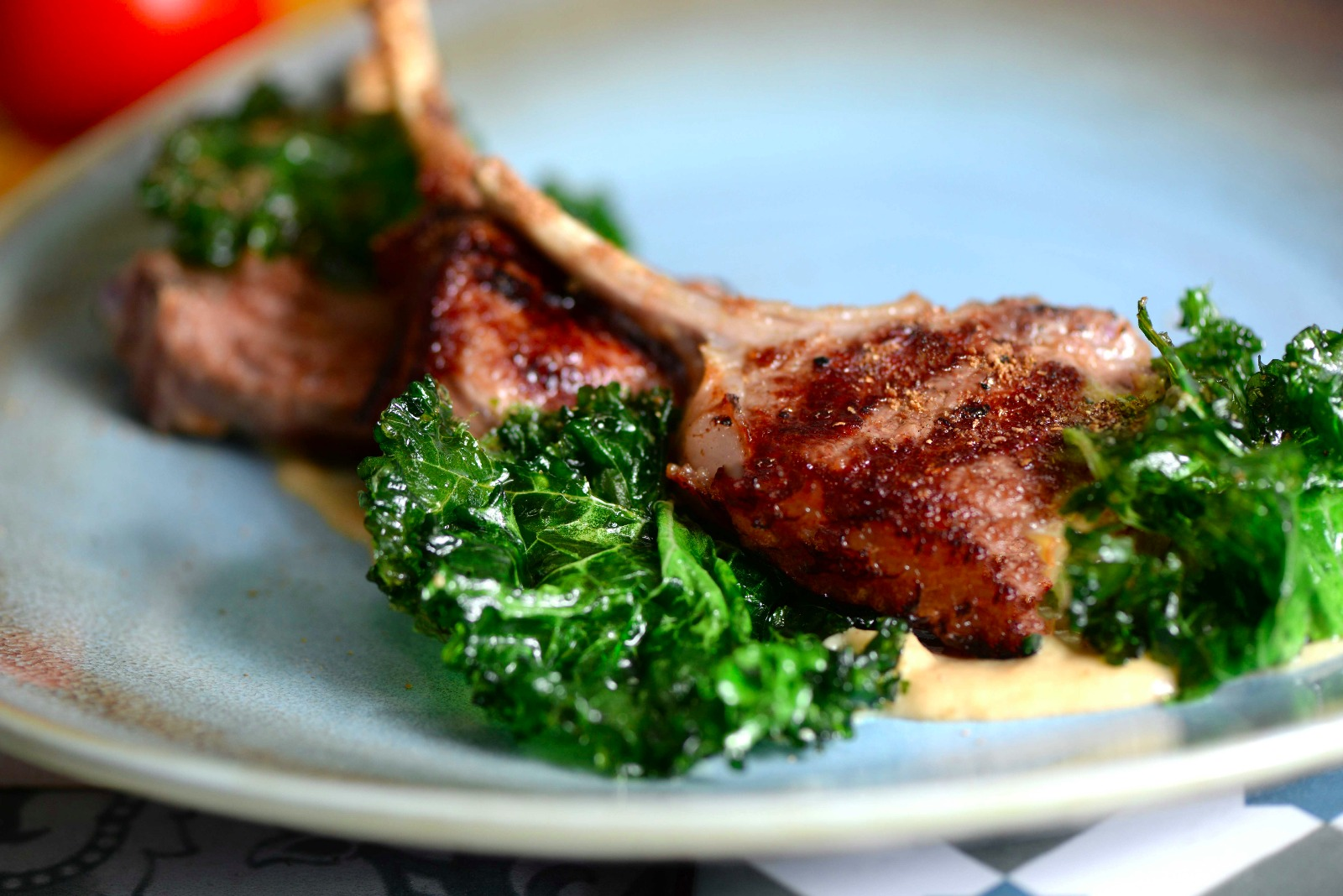 Salt Marsh lamb cutlet, shallots puree, cumin and curly kale