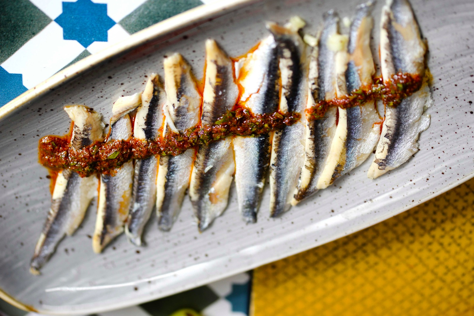 Pickled anchovies, chermoula dressing