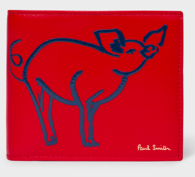 """Paul Smith's Men's Red """"Year Of The Pig"""" Billfold Leather Wallet Photo: Paul Smith"""