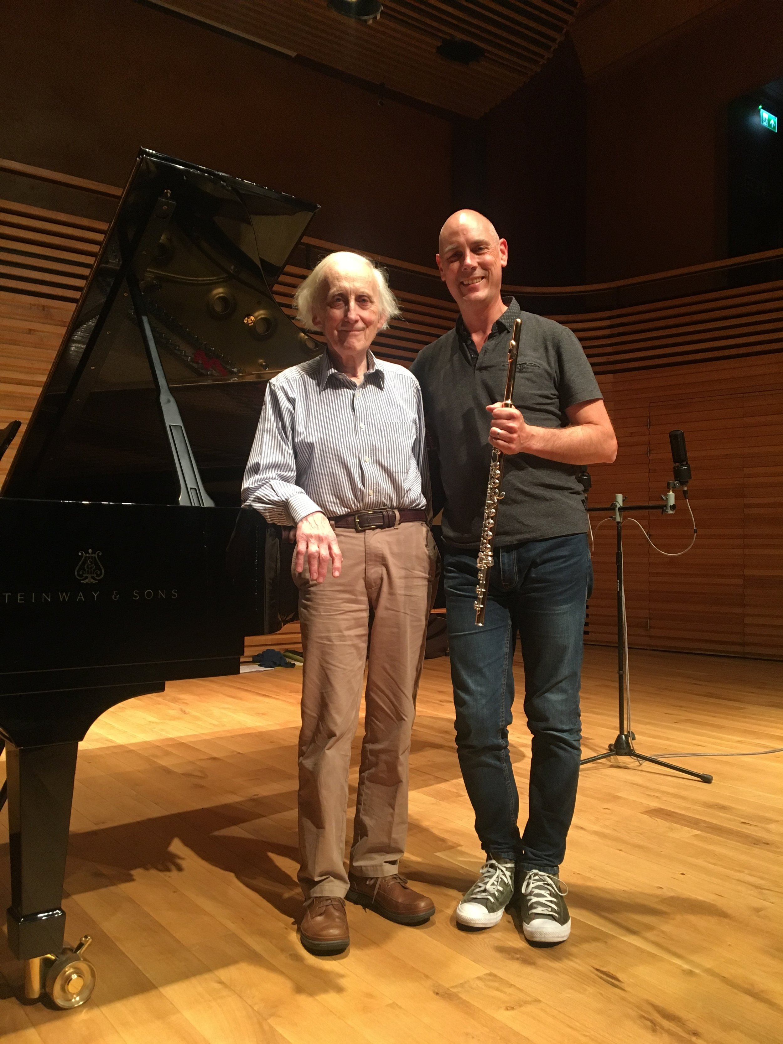 With Oliver Davies after our recording session at Yehudi Menuhin Concert Hall, Sept 2017