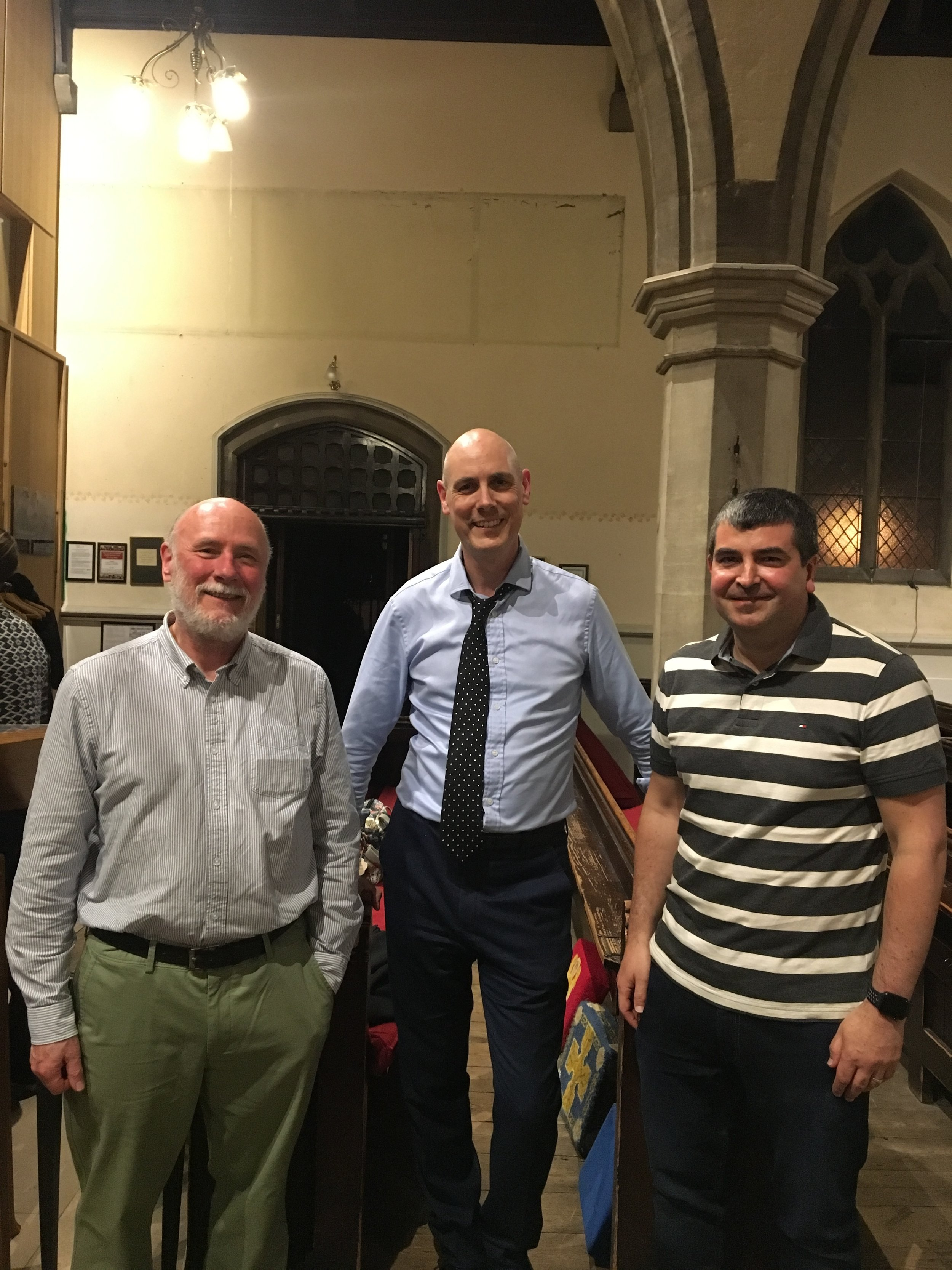 With (L) Dan Rootham, grandson of Cyril Rootham, and (R) David Walthew, great-grandson of Richard Walthew
