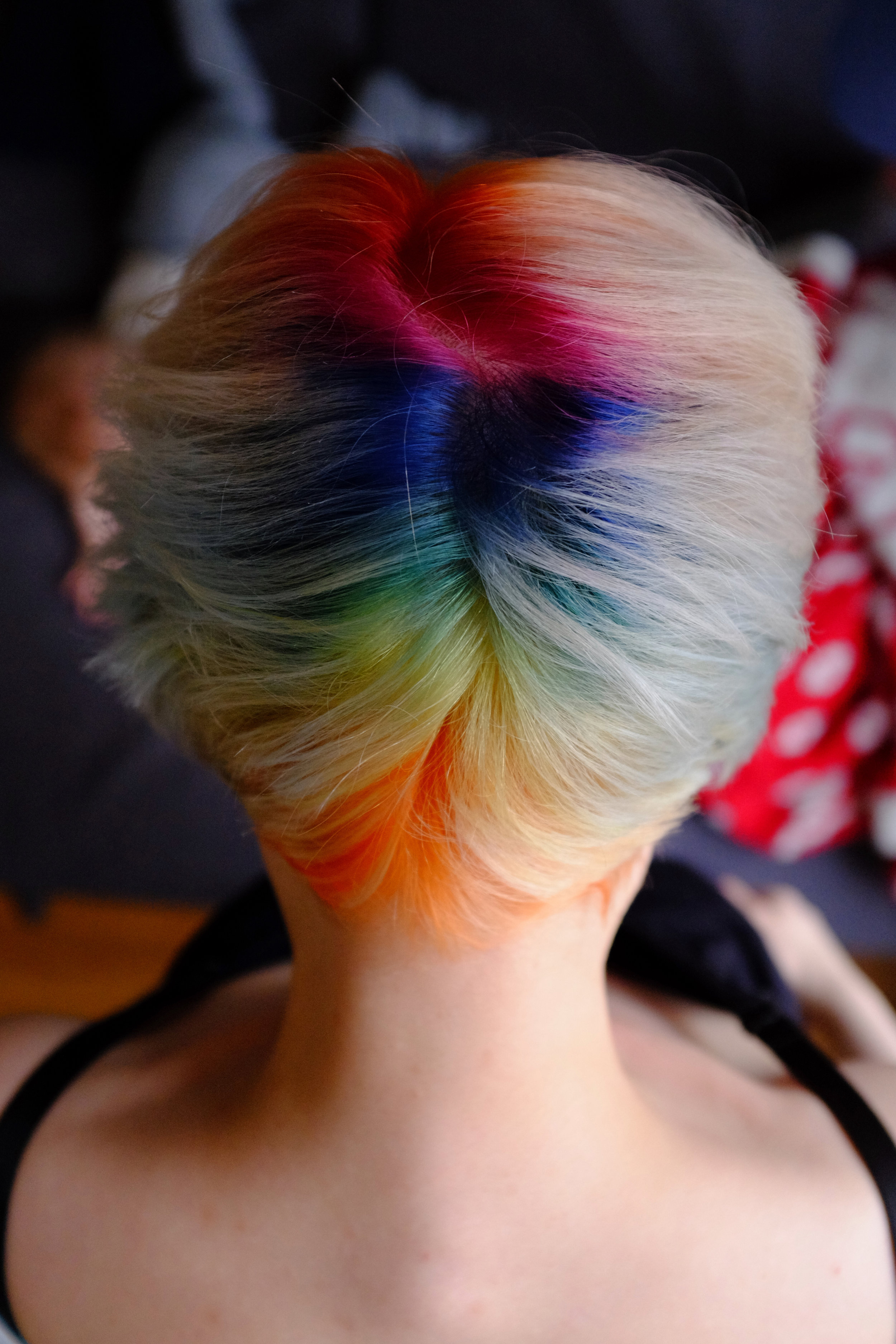 Colourful haircut rendered perfectly directly from the camera