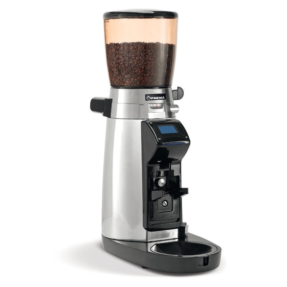 Magnum  Grinder-doser that can be programmed to operate automatically or manually. In automatic mode, the grind function is activated by a photocell when the filter holder is placed on the fork. Dosage is pre-selected using the touch screen.